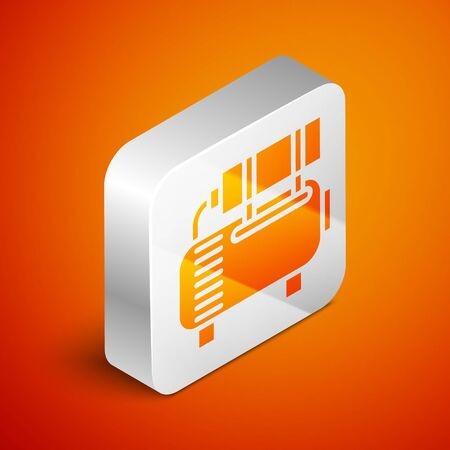 Isometric Air compressor icon isolated on orange background. Silver square button. Vector Illustration