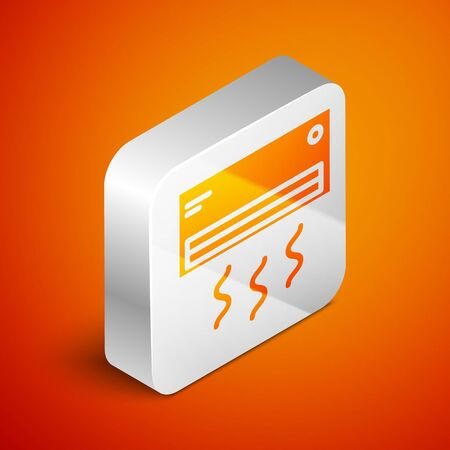 Isometric Air conditioner icon isolated on orange background. Split system air conditioning. Cool and cold climate control system. Silver square button. Vector Illustration