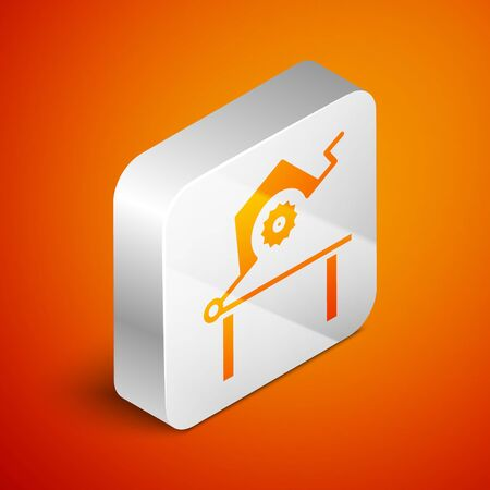 Isometric Table saw for woodwork icon isolated on orange background. Power saw bench. Silver square button. Vector Illustration