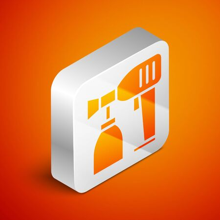 Isometric Paint spray gun icon isolated on orange background. Silver square button. Vector Illustration