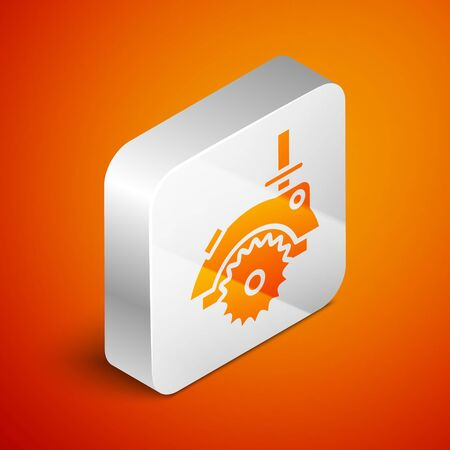 Isometric Electric circular saw with steel toothed disc icon isolated on orange background. Electric hand tool for cutting wood or metal. Silver square button. Vector Illustration