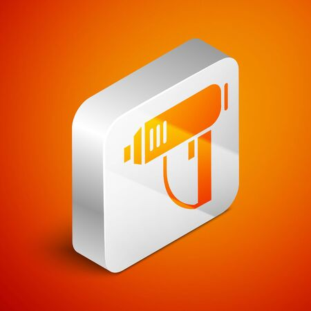 Isometric Electric industrial dryer icon isolated on orange background. Silver square button. Vector Illustration