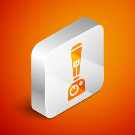 Isometric Blender icon isolated on orange background. Kitchen electric stationary blender with bowl. Cooking smoothies, cocktail or juice. Silver square button. Vector Illustration