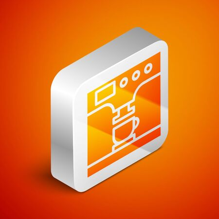 Isometric Coffee machine and coffee cup icon isolated on orange background. Silver square button. Vector Illustration Standard-Bild - 133690869
