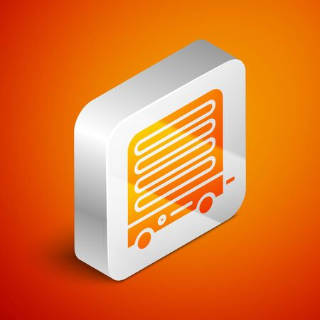 Isometric Electric heater icon isolated on orange background. Infrared floor heater with remote control. House climate control. Silver square button. Vector Illustration 向量圖像