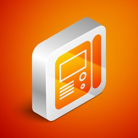 Isometric House intercom system icon isolated on orange background. Silver square button. Vector Illustration
