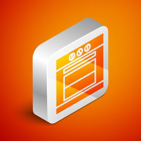 Isometric Oven icon isolated on orange background. Stove gas oven sign. Silver square button. Vector Illustration Illustration