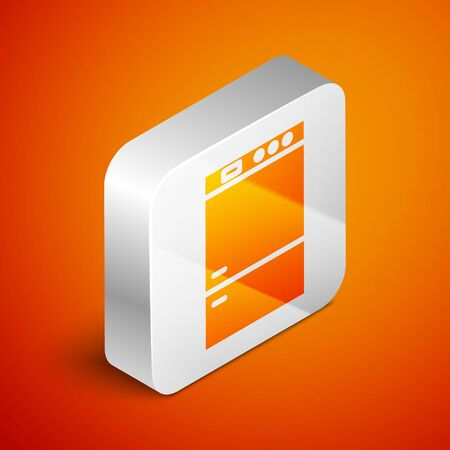 Isometric Refrigerator icon isolated on orange background. Fridge freezer refrigerator. Household tech and appliances. Silver square button. Vector Illustration Standard-Bild - 133691039