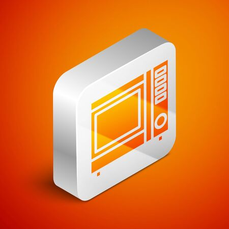 Isometric Microwave oven icon isolated on orange background. Home appliances icon. Silver square button. Vector Illustration Illustration