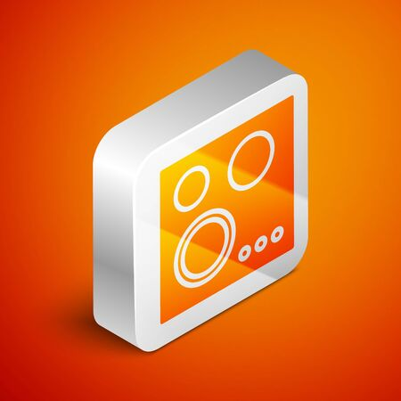 Isometric Gas stove icon isolated on orange background. Cooktop sign. Hob with four circle burners. Silver square button. Vector Illustration Illustration