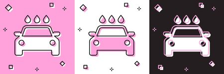 Set Car wash icon isolated on pink and white, black background. Carwash service and water cloud icon. Vector Illustration Stock fotó - 133691398