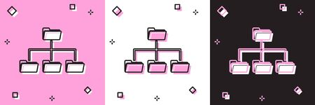 Set Folder tree icon isolated on pink and white, black background. Computer network file folder organization structure flowchart. Vector Illustration  イラスト・ベクター素材