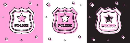 Set Police badge icon isolated on pink and white, black background. Sheriff badge sign. Vector Illustration