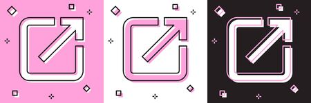 Set Open in new window icon isolated on pink and white, black background. Open another tab button sign. Browser frame symbol. External link sign. Vector Illustration