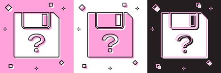 Set Unknown document icon isolated on pink and white, black background. File with Question mark. Hold report, service and global search sign. Vector Illustration Reklamní fotografie - 133691408