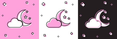 Set Cloud with moon and stars icon isolated on pink and white, black background. Cloudy night sign. Sleep dreams symbol. Night or bed time sign. Vector Illustration Ilustrace
