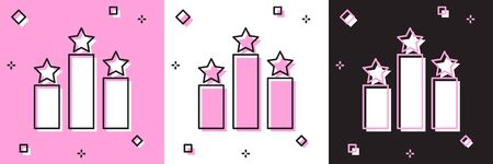 Set Ranking star icon isolated on pink and white, black background. Star rating system. Favorite, best rating, award symbol. Vector Illustration