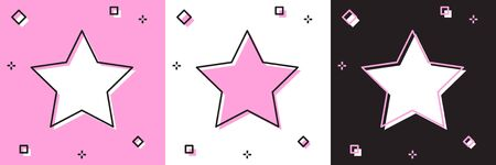 Set Star icon isolated on pink and white, black background. Favorite, best rating, award symbol. Vector Illustration