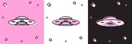 Set UFO flying spaceship icon isolated on pink and white, black background. Flying saucer. Alien space ship. Futuristic unknown flying object. Vector Illustration