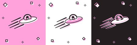 Set UFO flying spaceship and alien icon isolated on pink and white, black background. Flying saucer. Alien space ship. Futuristic unknown flying object. Vector Illustration