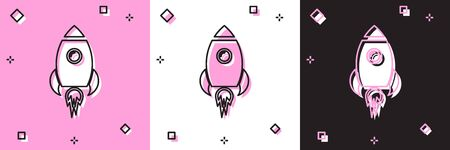 Set Rocket ship with fire icon isolated on pink and white, black background. Space travel. Vector Illustration