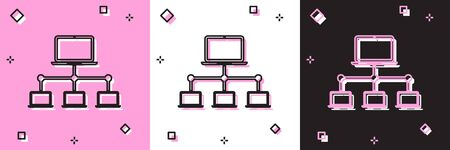 Set Computer network icon isolated on pink and white, black background. Laptop network. Internet connection. Vector Illustration