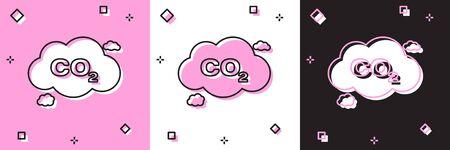 Set CO2 emissions in cloud icon isolated on pink and white, black background. Carbon dioxide formula symbol, smog pollution concept, environment concept. Vector Illustration Ilustração