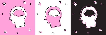 Set Head silhouette with cloud icon isolated on pink and white, black background. Dreaming sign. Vector Illustration Ilustrace