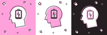 Set Male head with low battery icon isolated on pink and white, black background. Tired man. Vector Illustration