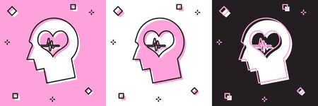 Set Male head with a heartbeat icon isolated on pink and white, black background. Head with mental health, healthcare and medical sign. Vector Illustration