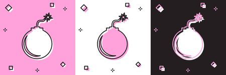 Set Bomb ready to explode icon isolated on pink and white, black background. Vector Illustration