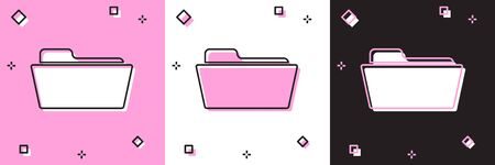 Set Folder icon isolated on pink and white, black background. Vector Illustration 写真素材 - 133696443