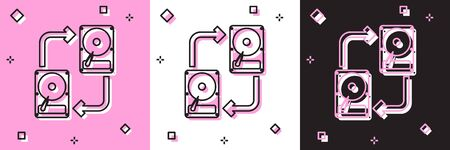 Set A fixed data storage device hard disk with arrows, data copy icon isolated on pink and white, black background. Data exchange with hard disk drive. Vector Illustration