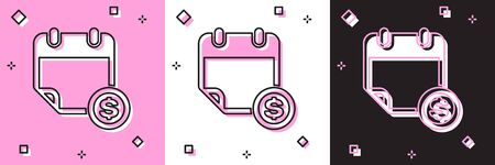 Set Financial calendar icon isolated on pink and white, black background. Annual payment day, monthly budget planning, fixed period concept, loan duration. Vector Illustration
