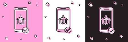 Set Flight mode in the mobile phone icon isolated on pink and white, black background. Airplane or aeroplane flight offline mode passenger regulation airline . Vector Illustration