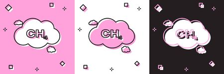 Set Methane emissions reduction icon isolated on pink and white, black background. CH4 molecule model and chemical formula. Marsh gas. Natural gas. Vector Illustration
