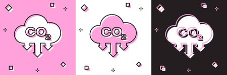 Set CO2 emissions in cloud icon isolated on pink and white, black background. Carbon dioxide formula symbol, smog pollution concept, environment concept. Vector Illustration Illustration