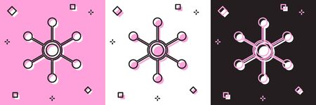 Set Network icon isolated on pink and white, black background. Global network connection. Global technology or social network. Connecting dots and lines. Vector Illustration Ilustração
