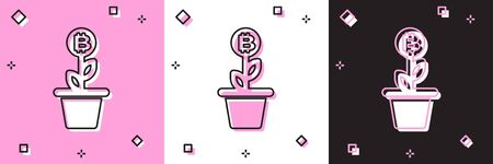 Set Bitcoin plant in the pot icon isolated on pink and white, black background. Business investment growth concept. Blockchain technology, cryptocurrency mining. Vector Illustration