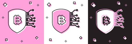 Set Shield with bitcoin icon isolated on pink and white, black background. Cryptocurrency mining, blockchain technology, security, protect, digital money. Vector Illustration