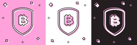 Set Shield with bitcoin icon isolated on pink and white, black background. Cryptocurrency mining, blockchain technology, security, protect, digital money. Vector Illustration Stock fotó - 133696117
