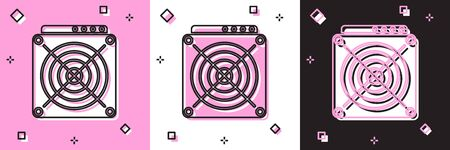Set ASIC Miner icon isolated on pink and white, black background. Cryptocurrency mining equipment and hardware. Application specific integrated circuit. Vector Illustration Reklamní fotografie - 133696143