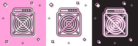 Set ASIC Miner icon isolated on pink and white, black background. Cryptocurrency mining equipment and hardware. Application specific integrated circuit. Vector Illustration Ilustrace
