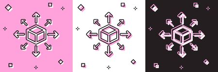 Set Distribution icon isolated on pink and white, black background. Content distribution concept. Vector Illustration