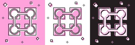Set Blockchain technology icon isolated on pink and white, black background. Cryptocurrency data. Abstract geometric block chain network technology business. Vector Illustration Stock fotó - 133697554