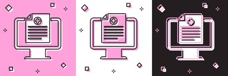 Set Medical clinical record on monitor icon isolated on pink and white, black background. Health insurance form. Prescription, medical check marks report. Vector Illustration