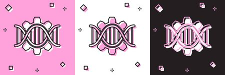 Set Genetic engineering icon isolated on pink and white, black background. DNA analysis, genetics testing, cloning, paternity testing. Vector Illustration