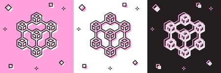 Set Blockchain technology icon isolated on pink and white, black background. Cryptocurrency data. Abstract geometric block chain network technology business. Vector Illustration