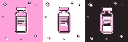 Set Medical vial, ampoule, bottle icon isolated on pink and white, black background. Vaccination, injection, vaccine healthcare concept. Vector Illustration