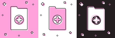 Set Medical clipboard with clinical record icon isolated on pink and white, black background. Health insurance form. Prescription, medical check marks report. Vector Illustration Ilustrace